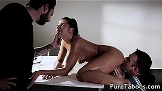 Cuckolding wife gets sprayed with cum