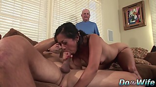 Asian woman lucky starr is banged by a stranger while her husband watches