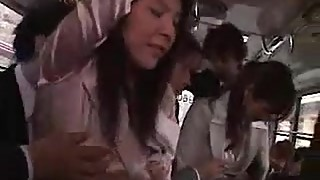 Two japanese, wife, business woman molested and fuck in bus