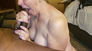 Wife gets a mouthful of her big black cock husband and cum