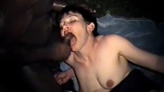 Short hair brunette wife riding a big black penis outdoors