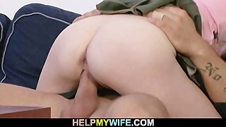 Lovely blonde wife cucks old man