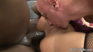 His wife, linda ray gets a black dick in her ass, and feeds the cuck the hubby and creampie