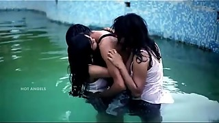 Boring girl group of three, wife and husband, sex in the pool