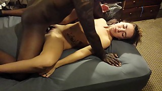 Cuckold films his skinny wife's impaled on black dick
