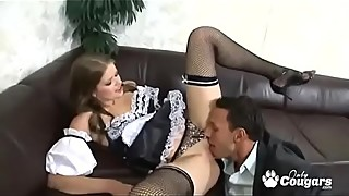 Husband and wife fuck the maid together,