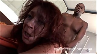 The old lady can barely take the big black cock interracial sex video