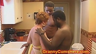 Granny slut is getting fucked in kitchen, big cock black