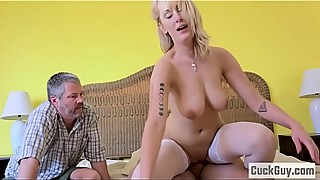 Busty blonde wife fucked in front of her husband