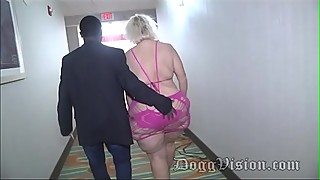 56y gilf amber connors syringe in hotel stairs