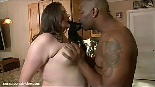 Chubby white housewife fucked in the kitchen