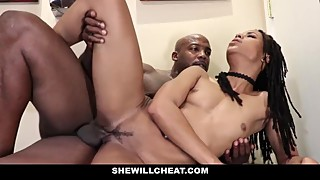 Shewillcheat wife cheating with a big black dick in the bathroom