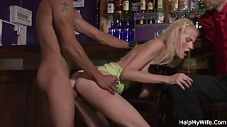 Young blonde, wife, horny husband, with the waiter